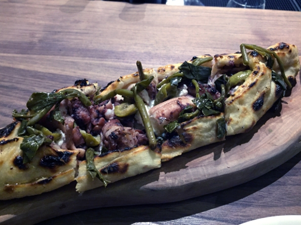octopus, ricotta and caper pide at oklava