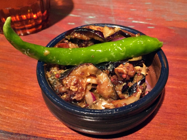 pickled aubergine at hoppers