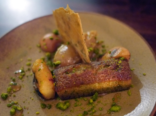 pistachio sponge cake with filo pastry and barbecued quince at oklava