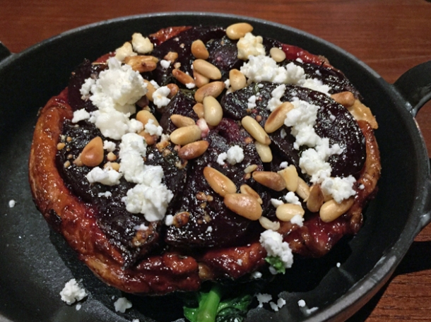 beetroot tarte tartin with feta and pine nuts at the ninth