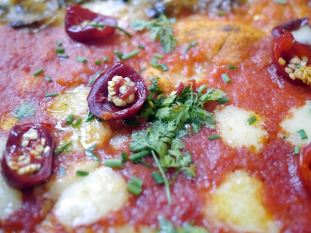 calabrian peppers pizza at homeslice fitzrovia