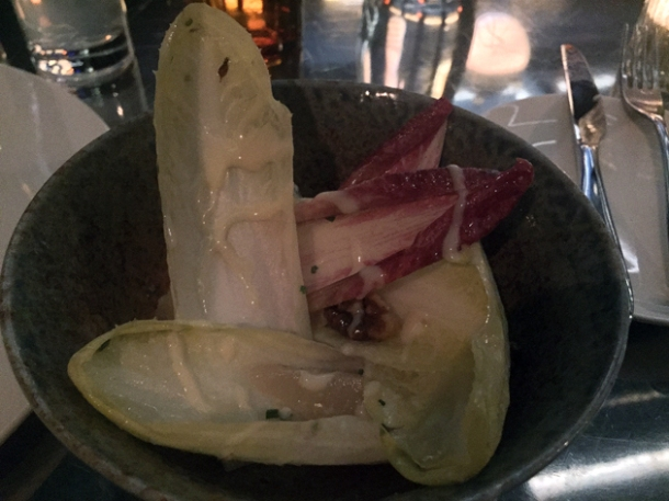 chicory pear salad with walnut dressing at piquet bar