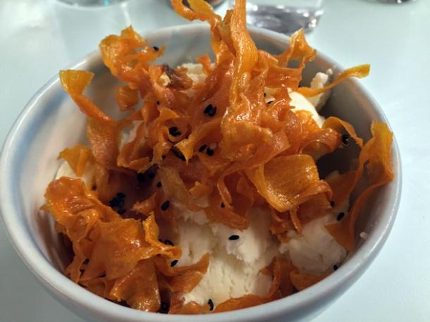 ginger ice cream, miso caramel, sweet potato crisps and black sesame seeds at jidori dalston