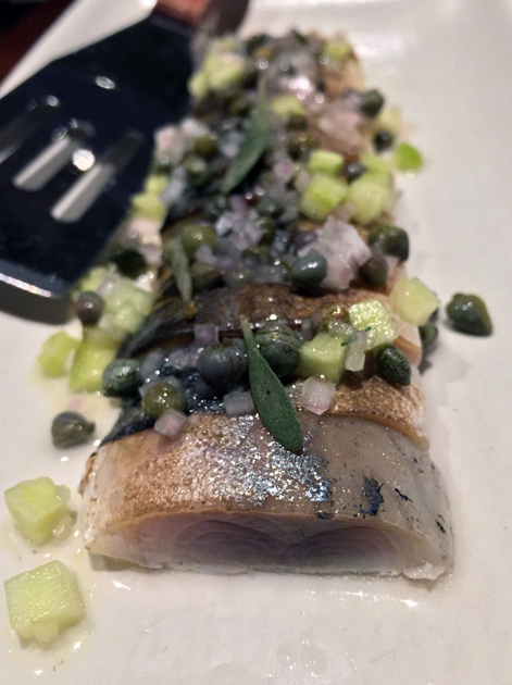 mackerel with dill, cucumber and capers at the ninth
