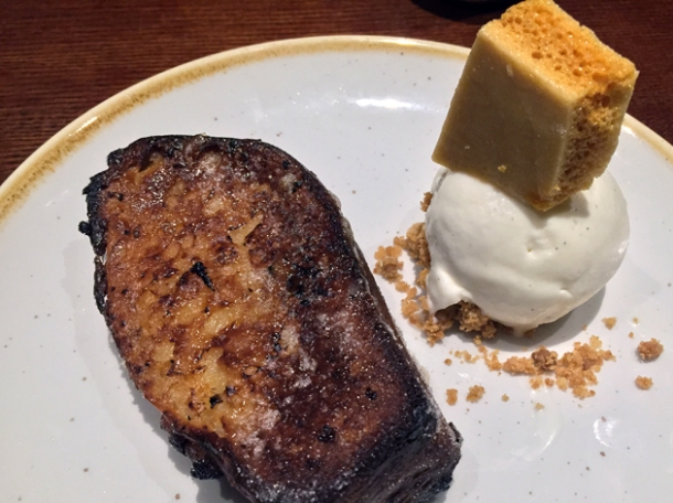 pain perdu with honeycomb and vanilla ice cream at the ninth