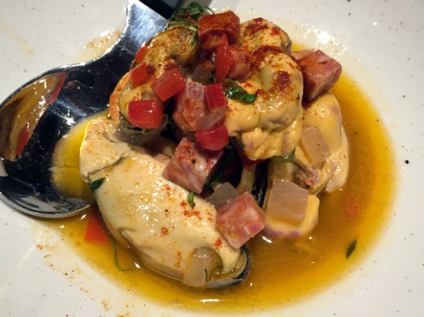 pickled mussels with chorizo at the ninth