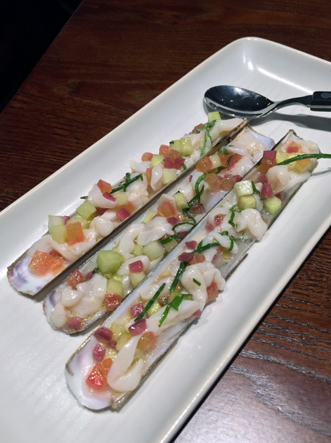 razor clam ceviche at the ninth