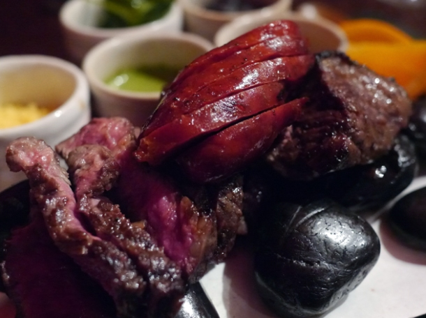 rib eye steak, chorizo and wagyu beef at sushisamba london
