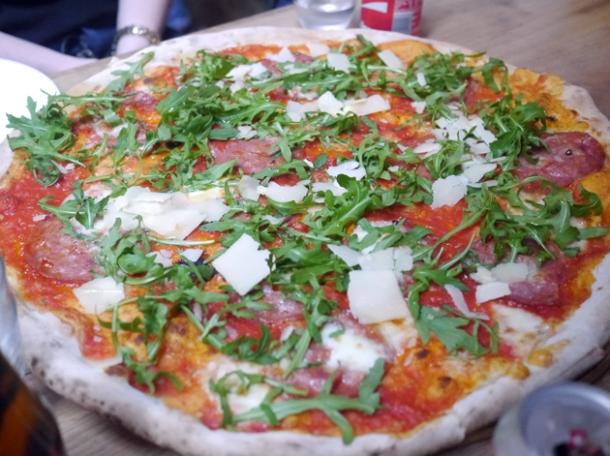 salami, parmesan and rocket pizza at homeslice fitzrovia