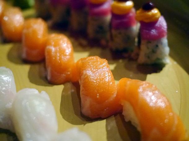 salmon nigiri at sushisamba london