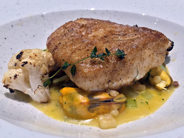 spiced cod with mussels and cauliflower at the ninth