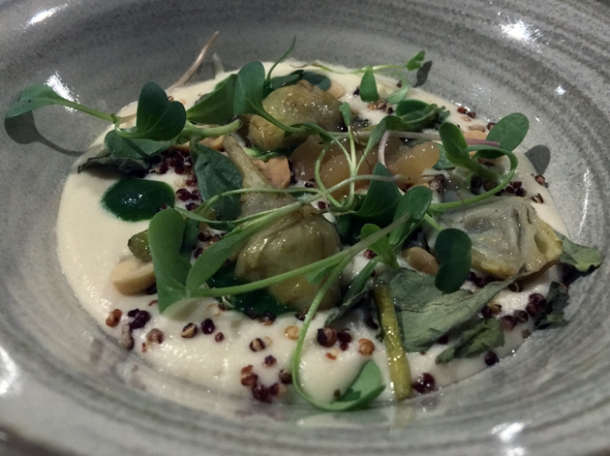 baby artichokes with peanuts and nastirtium leaves at biko