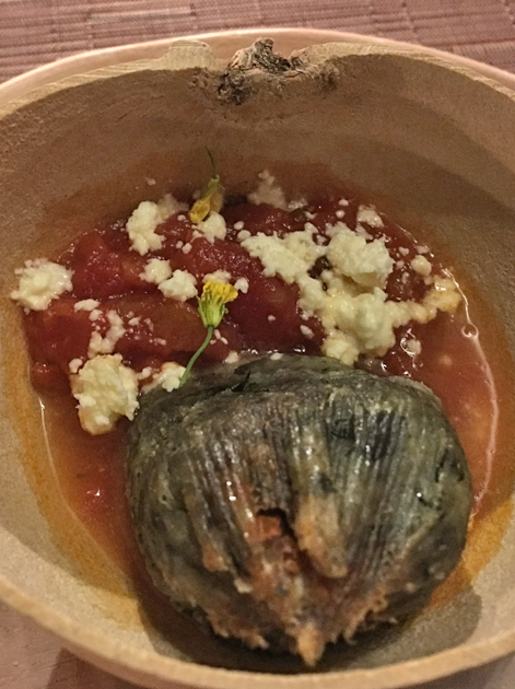 blue corn tamales in tomato sauce at tierra y cielo