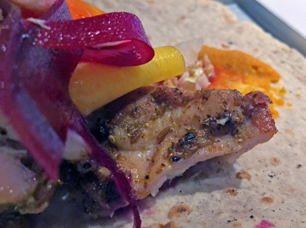 chicken shish kebab wrap at le bab