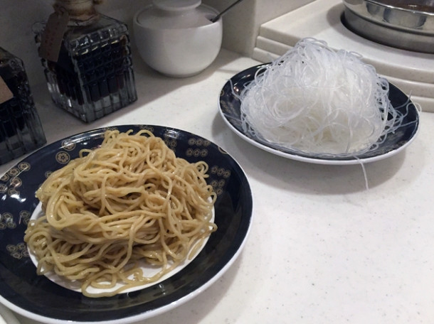 egg noodles and vermicelli at shuang shuang