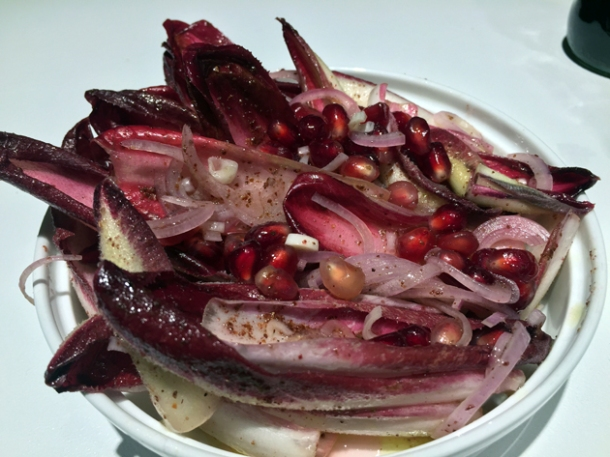endive and pomegranate salad at le bab