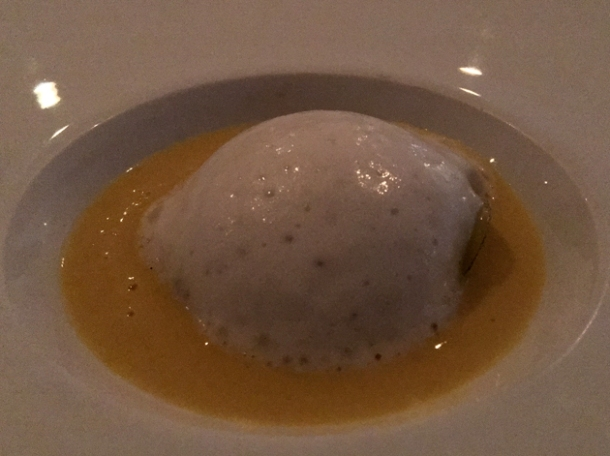 green pepper jelly with onion foam and corn cream at benazuza