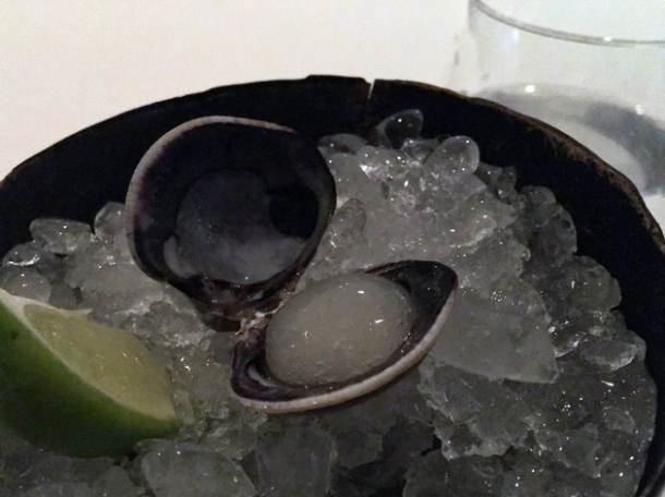 herby jelly in clam shell at benazuza