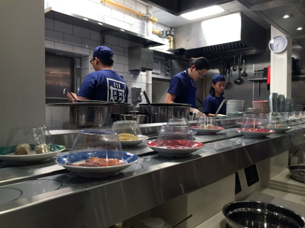 kaiten conveyor belt and kitchen at shuang shuang
