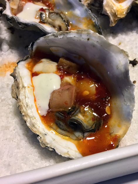 oysters with wasabi sauce at nudo negro