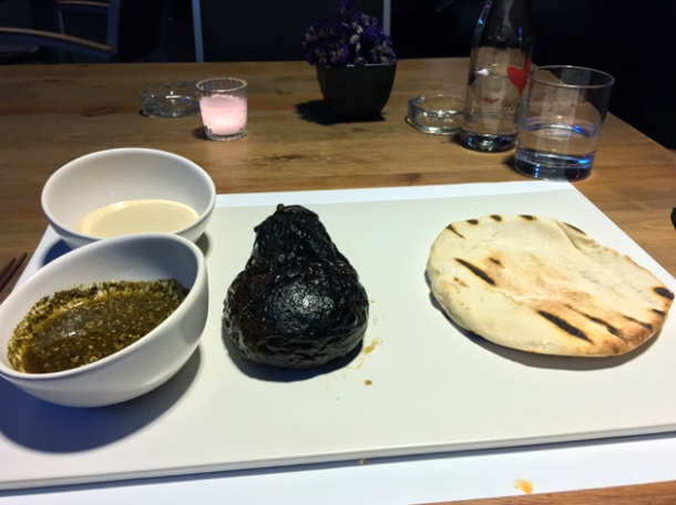 smoked aubergine with tahini and pitta bread at nudo negro
