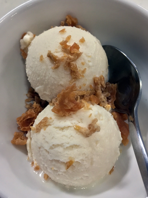 soy milk ice cream with crystallised ginger at shuang shuang