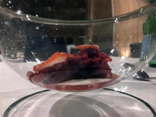 strawberries, goji berries and cream at biko