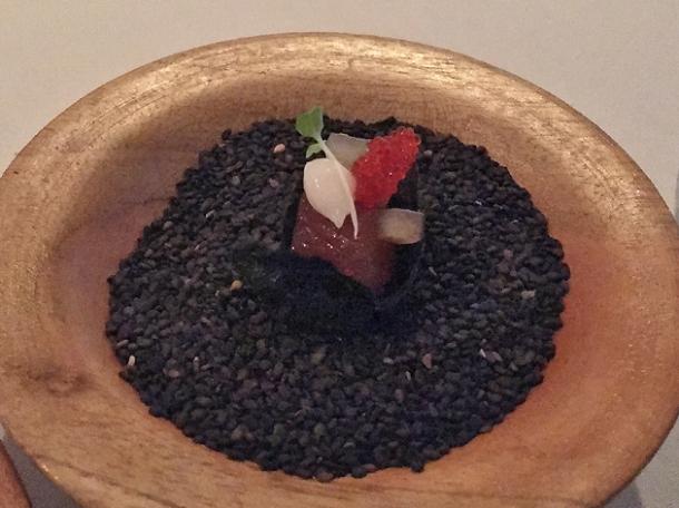 tuna wrapped in seaweed at benazuza