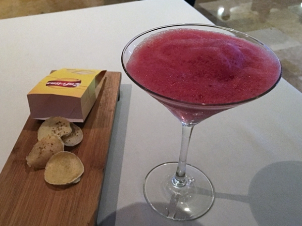 watermelon cocktail with parsnip crisps at benazuza