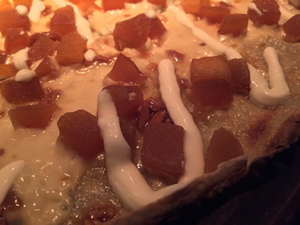 apple and calvados tarte flambee at bellanger islington