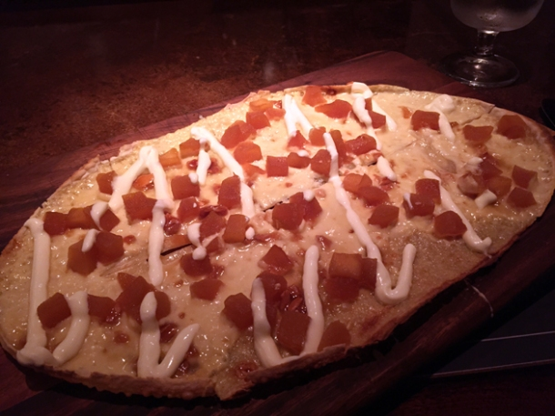apple and calvados tarte flambee at bellanger
