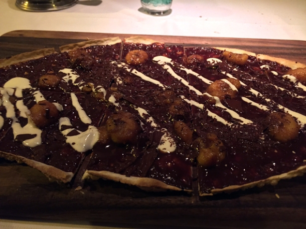 banana and chocolate tarte flambee at bellanger