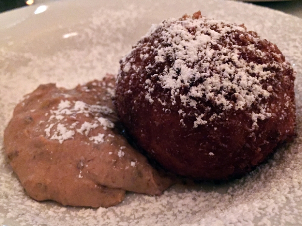 deep fried rice pudding ball with prune puree at hill and szrok pub