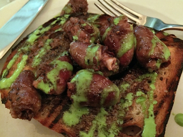 devilled chicken hearts on toast at hill and szrok pub