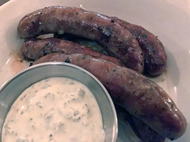merguez sausages at hill and szrok pub