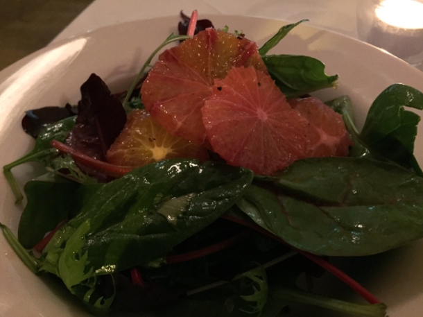 mixed leaf and blood orange salad at hill and szrok pub