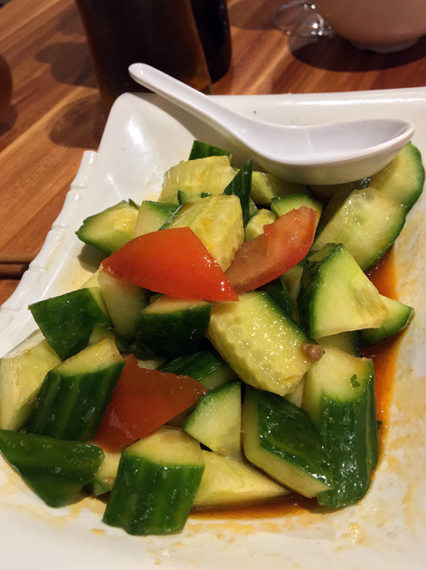 smacked cucumber with garlic sauce at xi'an impression