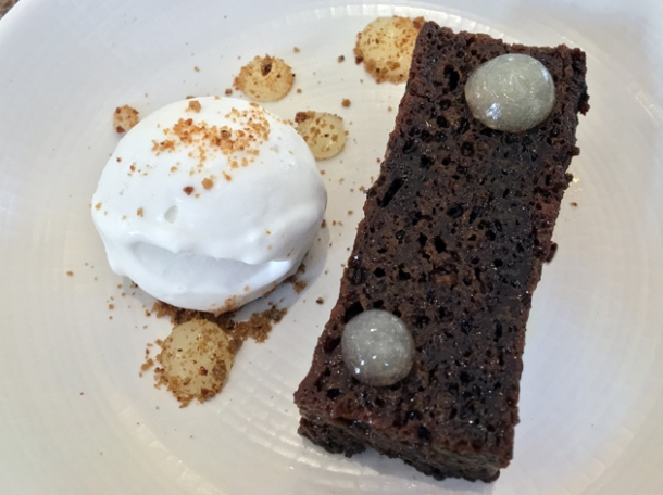 banana bread sticky toffee ginger pudding with coconut sorbet at dickie fitz