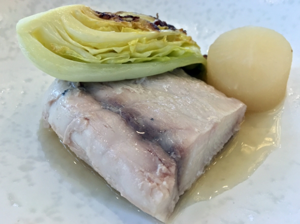 barramundi with daikon radish in dashi at dickie fitz