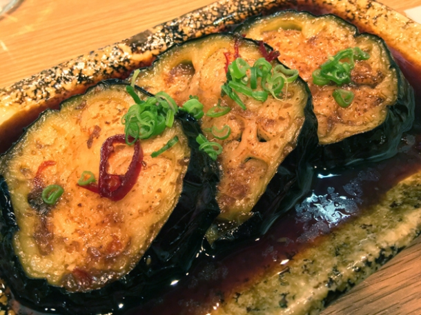 braised aubergine at yumi izakaya