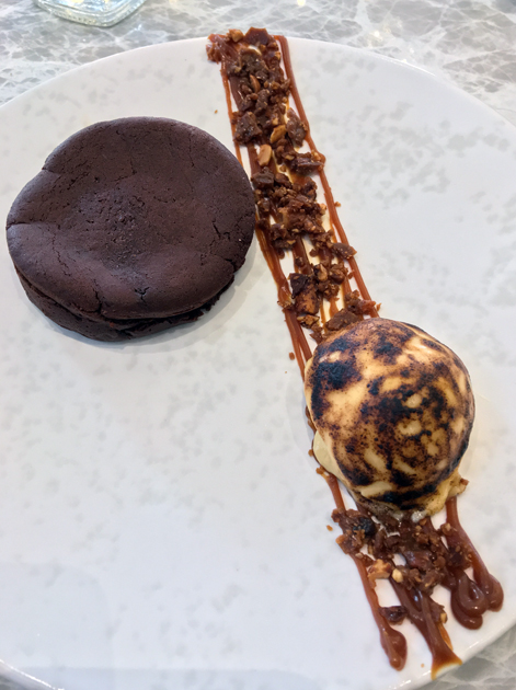 burnt marshmallow, chocolate fondant and peanut dessert at dickie fitz
