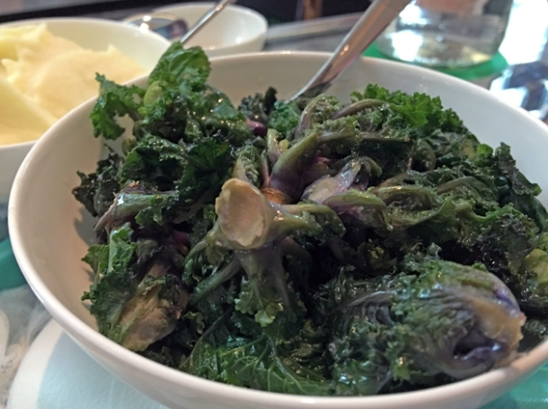 buttered kale hearts and mash at pharmacy 2