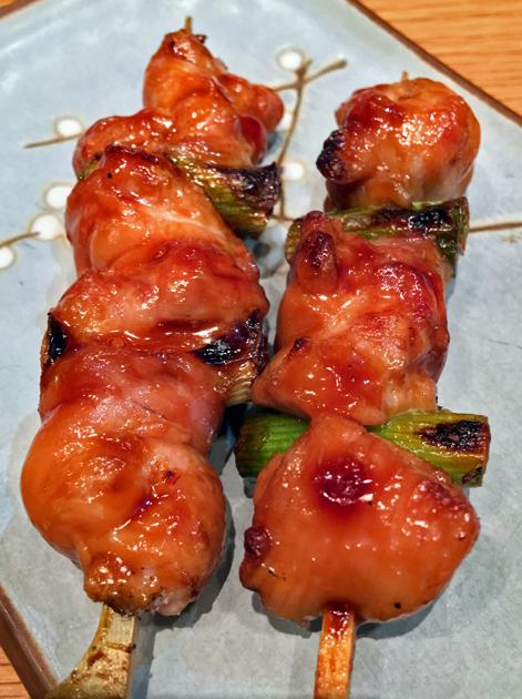 chicken thigh yakitori at yumi izakaya