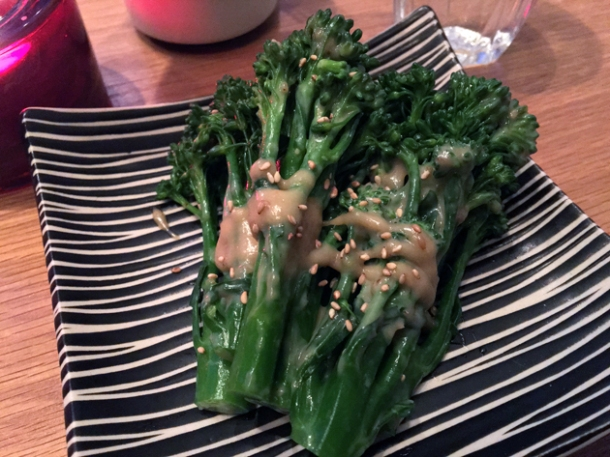 chilled broccoli with sesame dressing at yumi izakaya