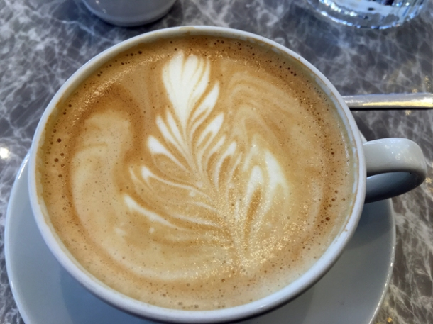 flat white coffee at dickie fitz