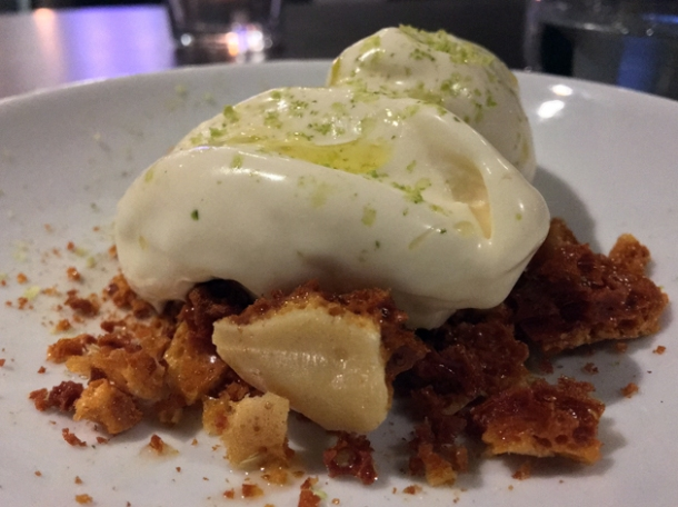 honey and olive oil gelato with honeycomb at osteria barbican