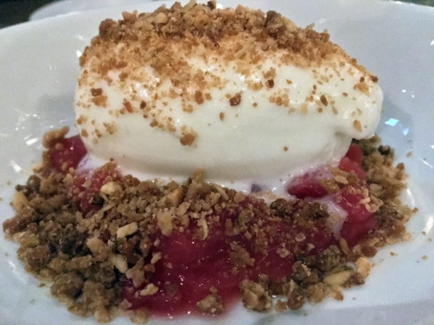 milk ice cream with rhubarb at pitt cue city