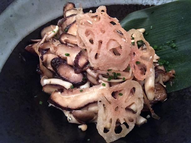 mushroom salad at yumi izakaya