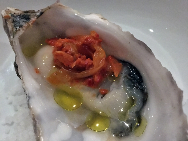 oyster with kimchi at pitt cue
