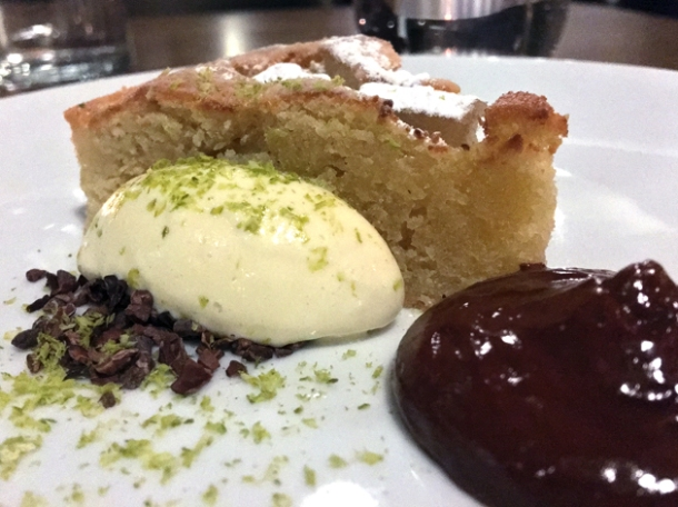 pear and almond tart with chocolate at osteria barbican